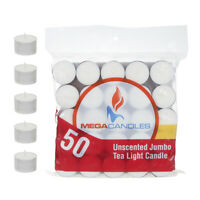 Mega Candles - Unscented Jumbo Tea Light Candles - White, Set of 50 CGA105-W