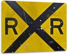 Railroad Crossing Yellow Warning Sign RR Weathered Retro Decor Metal Tin Sign