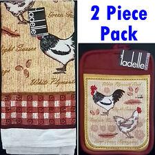 Ladelle Evergreen Farmyard Kitchen 2 Piece Pack. 1 x Tea Towels + 1 x Pot Holder