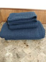 Pottery Barn Pick Stitch Handcrafted Blue Linen Full /Queen Quilt & 2 Shams Set