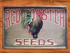 "TIN SIGN ""Red Rooster Seeds"" Garden Farm Feed Rustic Wall Decor"