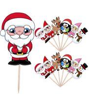 Santa Elf Reindeer Snowman Penguin Christmas Food Cake Picks Decorations 14 Pack