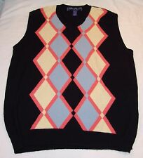 Alan Flusser Golf V-neck Sweater Vest L Mens Argyle Print Bright Colorful