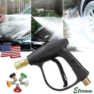 "1/4"" High Pressure Washer Gun 3000 PSI Car Wash Foam Spray Short Wand w/ Nozzle"