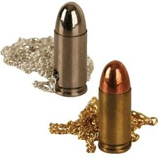 MILITARY BULLET NECKLACE 9mm BRASS SILVER PISTOL NOVELTY GIFT KIDS BRITISH ARMY