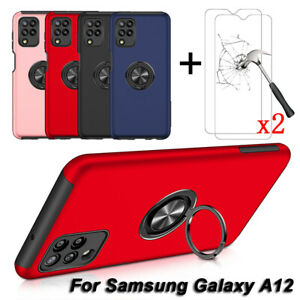 For Samsung Galaxy A12 Case, Ring Stand Armor Cover + Tempered Glass Protector