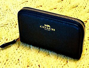 NWT COACH ZIP AROUND LEATHER COIN CASE WALLET BLACK SMALL $78