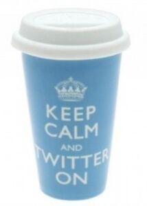 Keep Calm and Twitter On thermal travel mug Brand New