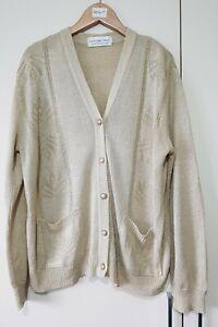 Future Lady Cardigan Gold Size Medium Button Vintage Style Winter Knit, Ladies