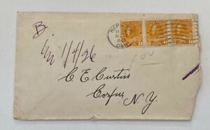 1926 1c Yellow Block Hamilton ON to Corfu New York