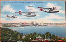 WWII Linen Aviation 1944 Postcard: US Navy Bombers- Jacksonville, FL - Airplanes