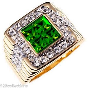4x4 mm Cut Green Emerald May Birthstone Two Tone Men's Ring Jewelry Size 12