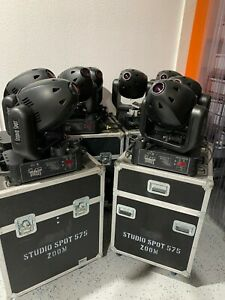 Lot of 8 High End Systems Studio Spot 575 Zoom Moving Light Fixtures w/Cases