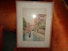 "Unopia  watercolor :"" Venice Backbay Canal w/Gondolier:"" January 1921--stunning"