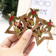 Christmas Party Decorations Star Printed Wooden Pendants Ornaments Xmas 4pcs