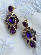 Purple Gold Earrings Halloween Fancy Dress Jewellery Accessories