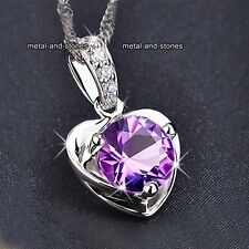 BLACK FRIDAY Jewellery Sale Purple Crystal Heart Necklace Gift For Her Mum Women