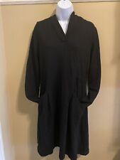 Ibex Merino Wool Black Womens Dress Pocket And Back Tie Size Large