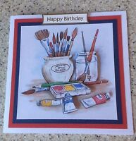 "Handmade Birthday 3D decoupage artist, painter, painting hobby card  6"" x 6"""
