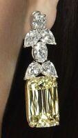 9Ct Emerald Cut Yellow Simlnt Diamond Dangle Drop Earrings White Gold Fns Silver