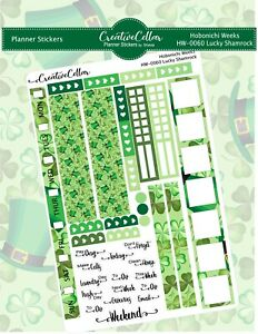 Planner Stickers (HW0060) Lucky Shamrock Fits the Hobonichi Weeks