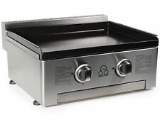 2 Burner Gas Plancha BBQ & Griddle - Enameled cast iron Grill Surface