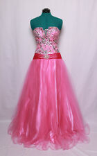 JOVANI BUBBLE GUM PINK SILVER SEQUINS GEMS TULLE PROM FORMAL BALL GOWN DRESS 0