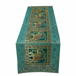 Indian Vintage Silk Blend Elephant Table Runner Party Decoration Table Cloth NEW