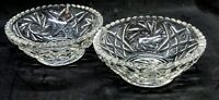2 VINTAGE PRESSED GLASS SCALLOPED EDGE FOOTED DESSERT BERRY BOWLS DISHES