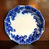 """Grindley Flow Blue Argyle Coupe Soup Bowl 7.75"""" Diameter Antique 1896"""
