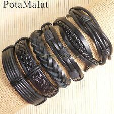 PotaMalat 6pcs Handmade braided male female leather bracelet bangle wrap-D89