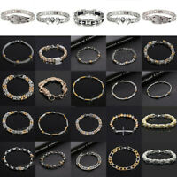 Fashion Mens Stainless Steel Bracelet Wristband Clasp Cuff Bangle Chain Jewelry