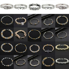 Punk Mens Women Stainless Steel Rubber Bracelet Bangle Wristband Cuff Chain Link