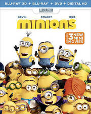 Minions 3-Disc 3D Blu-ray+Blu-ray+DVD With Lenticular Slip Cover 3 Mini-Movies