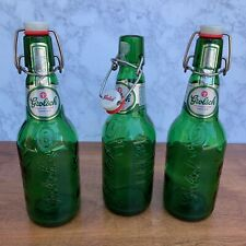 Lot Of 3 Grolsch Holland Green Glass Bottles Home Brewing Beer Swing Top