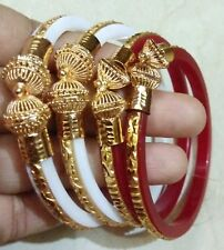 Indian Bengali Sankha Pola Red White Bangles Gold Fill inlay 4 Pcs Churi 2.8'