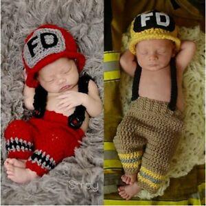 Newborn Firefighter Outfit Newborn Photography Prop Crochet fireman helmet pant