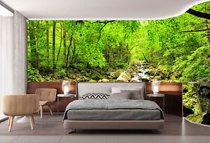 3D Green Forest and Stream Self-adhesive Wallpaper Natural Forest Wall Murals