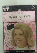 Vintage Hair Nets! Nylon! Non-Run! Pack of 3! (Grey! ) Unique old Items! Nice!
