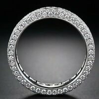 Silver Half Eternity Band Ring Made with Swarovski Crystals