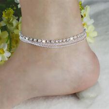 Ankle Bracelet K3U5 Sandal Beach X0W7 Foot Jewelry Silver Bead Chain Anklet