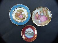 VINTAGE  3x LIMOGES FRENCH  VARIOS  MINIATURES  PLATES COLLECTABLES