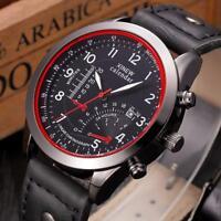 Resistente Al Agua Hombres Militar Cuero Reloj Con Fecha Cuarzo Pulsera