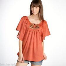 La Redoute womans boho BRICK RED beaded fancy tunic blouse top UK 14 EU 42 NEW