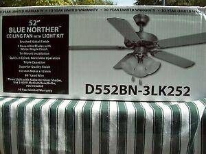 "D552BN-3LK252 52"" BLUE NORTHER CEILING FAN W/LIGHT KIT NIB"
