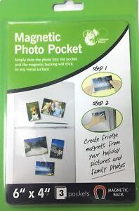 """6"""" X 4"""" MAGNETIC PHOTO 3 PK POCKET FRAME HOLDER FRIDGE MAGNET PHOTOGRAPHS UK P&P"""