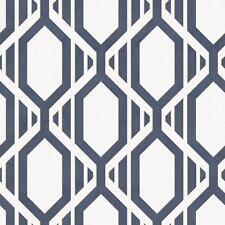 Wallpaper Modern Retro Diamond Geometric Trellis Navy Blue Gold on Off White