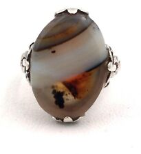 Sterling Silver Vintage Oval Jasper Bow Ring Size 5.25 3.6grams