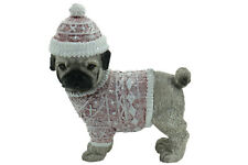 Pug Dog Xmas Figurine Ornament in Pink Jacket Approx 6x6cm