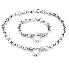 Hot Sell Womens Party Design Silver Stainless Steel Heart Rolo Necklace Bracelet